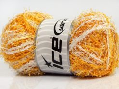 Lot of 4 x 100gr Skeins Ice Yarns SCRUBBER TWIST Hand Knitting Yarn Gold White