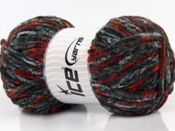 Lot of 4 x 100gr Skeins Ice Yarns CHENILLE BABY SAFARI (100% MicroFiber) Yarn Camel Navy Grey Red