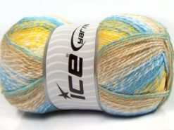 Lot of 2 x 200gr Skeins Ice Yarns PUZZLE BABY Yarn Blue Green Yellow Camel White