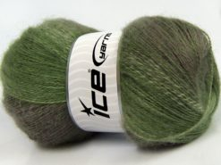 Lot of 4 x 100gr Skeins Ice Yarns MOHAIR PASTEL (10% Mohair 15% Wool) Yarn Green Shades Camel