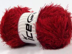 Lot of 4 x 100gr Skeins Ice Yarns EYELASH 100GR Hand Knitting Yarn Dark Red