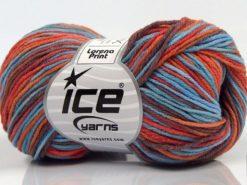Lot of 8 Skeins Ice Yarns LORENA PRINT (55% Cotton) Yarn Brown Orange Blue