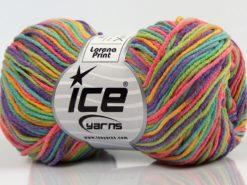 Lot of 8 Skeins Ice Yarns LORENA PRINT (55% Cotton) Yarn Purple Green Pink Yellow Turquoise