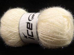 Lot of 4 x 100gr Skeins Ice Yarns SPARKLE Hand Knitting Yarn Light Cream