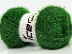 Lot of 4 x 100gr Skeins Ice Yarns SPARKLE Hand Knitting Yarn Green