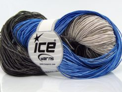 Lot of 2 x 200gr Skeins Ice Yarns HAND DYED BATIK Yarn Blue Anthracite Black Cream