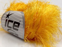Lot of 8 Skeins Ice Yarns LONG EYELASH Hand Knitting Yarn Yellow