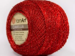 Lot of 10 Skeins YarnArt CAMELLIA (30% Metallic) Hand Knitting Yarn Red Silver