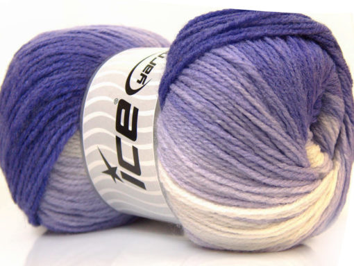 Lot of 4 x 100gr Skeins Ice Yarns MAGIC LIGHT Yarn Purple Lilac White