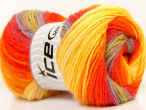 Lot of 4 x 100gr Skeins Ice Yarns MAGIC LIGHT Yarn Orange Yellow Green Camel
