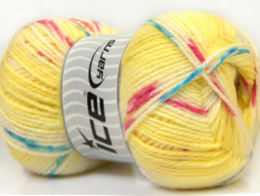 Lot of 4 x 100gr Skeins Ice Yarns BABY DESIGN Yarn Yellow White Pink Blue