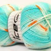 Lot of 4 x 100gr Skeins Ice Yarns BABY DESIGN Yarn Turquoise White Copper