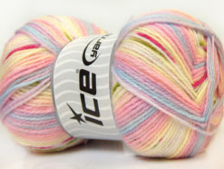 Lot of 4 x 100gr Skeins Ice Yarns BABY DESIGN Yarn Lilac Yellow Blue Pink