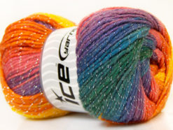 Lot of 4 x 100gr Skeins Ice Yarns MAGIC GLITZ Yarn Orange Yellow Purple Green Blue