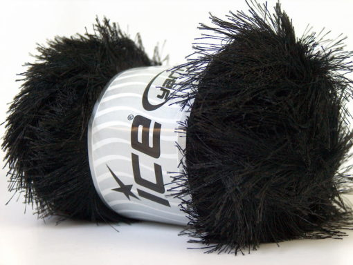 Lot of 4 x 100gr Skeins Ice Yarns EYELASH 100GR Hand Knitting Yarn Black