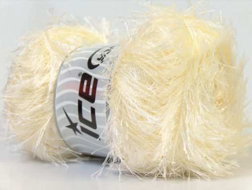 Lot of 4 x 100gr Skeins Ice Yarns EYELASH 100GR Hand Knitting Yarn Cream