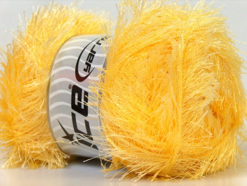 Lot of 4 x 100gr Skeins Ice Yarns EYELASH 100GR Yarn Light Yellow