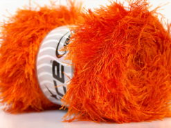 Lot of 4 x 100gr Skeins Ice Yarns EYELASH 100GR Hand Knitting Yarn Orange