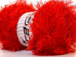 Lot of 4 x 100gr Skeins Ice Yarns EYELASH 100GR Hand Knitting Yarn Bright Red