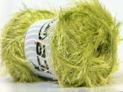 Lot of 4 x 100gr Skeins Ice Yarns EYELASH 100GR Hand Knitting Yarn Green