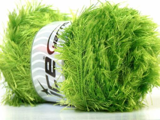 Lot of 4 x 100gr Skeins Ice Yarns EYELASH 100GR Yarn Bright Green