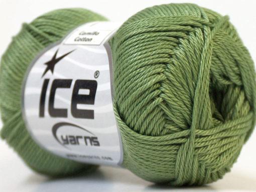 Lot of 6 Skeins Ice Yarns CAMILLA COTTON (100% Mercerized Cotton) Yarn Khaki