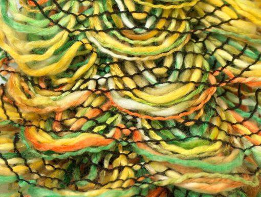 Lot of 4 x 75gr Skeins Ice Yarns CHA CHA CHA Scarf Yarn Green Orange Yellow
