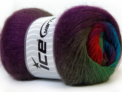 Lot of 4 x 100gr Skeins Ice Yarns MADONNA (40% Wool 30% Mohair) Yarn Purple Green Shades Red Blue