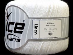 Lot of 6 Skeins Ice Yarns LINEN (50% Viscose) Hand Knitting Yarn White