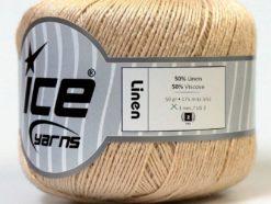 Lot of 6 Skeins Ice Yarns LINEN (50% Viscose) Hand Knitting Yarn Dark Cream