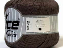 Lot of 6 Skeins Ice Yarns LINEN (50% Viscose) Hand Knitting Yarn Brown