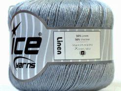 Lot of 6 Skeins Ice Yarns LINEN (50% Viscose) Hand Knitting Yarn Light Grey