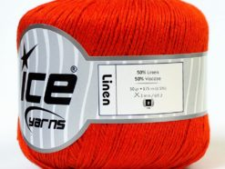 Lot of 6 Skeins Ice Yarns LINEN (50% Viscose) Hand Knitting Yarn Orange