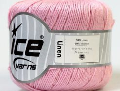 Lot of 6 Skeins Ice Yarns LINEN (50% Viscose) Hand Knitting Yarn Light Pink