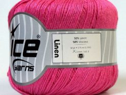 Lot of 6 Skeins Ice Yarns LINEN (50% Viscose) Hand Knitting Yarn Pink