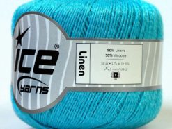 Lot of 6 Skeins Ice Yarns LINEN (50% Viscose) Yarn Light Turquoise