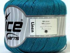 Lot of 6 Skeins Ice Yarns LINEN (50% Linen 50% Viscose) Yarn Teal