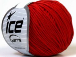 Lot of 8 Skeins Ice Yarns ALARA (50% Cotton) Hand Knitting Yarn Red