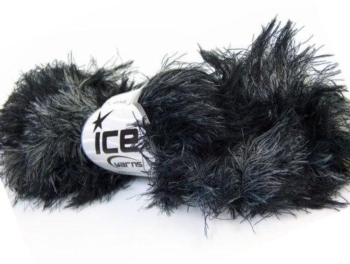 Lot of 3 x 100gr Skeins Ice Yarns SMOOTH FUR Hand Knitting Yarn Black Grey