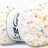 Lot of 4 x 100gr Skeins Ice Yarns PUFFY POMPOM (85% MicroFiber) Yarn Cream