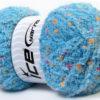 Lot of 4 x 100gr Skeins Ice Yarns PUFFY POMPOM (85% MicroFiber) Yarn Blue