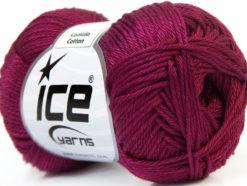 Lot of 6 Skeins Ice Yarns CAMILLA COTTON (100% Mercerized Cotton) Yarn Dark Fuchsia