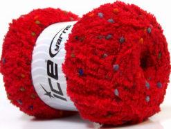 Lot of 4 x 100gr Skeins Ice Yarns PUFFY POMPOM (85% MicroFiber) Yarn Red