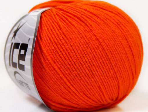 Lot of 8 Skeins Ice Yarns BABY SUMMER (60% Cotton) Hand Knitting Yarn Orange