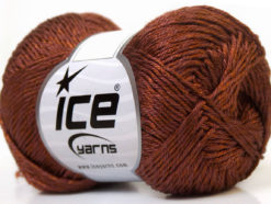 Lot of 4 x 100gr Skeins Ice Yarns TENA (50% Cotton) Hand Knitting Yarn Brown
