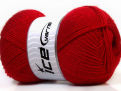Lot of 4 x 100gr Skeins Ice Yarns SUPER BABY Hand Knitting Yarn Dark Red