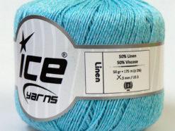 Lot of 6 Skeins Ice Yarns LINEN (50% Viscose) Hand Knitting Yarn Light Blue