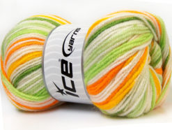 Lot of 4 x 100gr Skeins Ice Yarns GUMBALL Yarn Green Shades Orange Yellow White