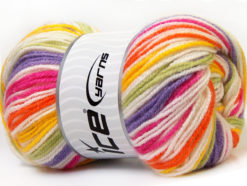 Lot of 4 x 100gr Skeins Ice Yarns GUMBALL Yarn Lilac Pink Green Yellow Orange White