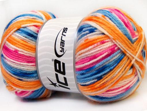 Lot of 4 x 100gr Skeins Ice Yarns CANDY BABY Yarn Blue Pink Orange White